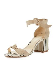 Alexandre Birman Clarita Suede & Striped Block-Heel Sandal