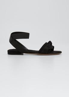 Alexandre Birman Clarita Suede Ankle-Wrap Flat Sandals