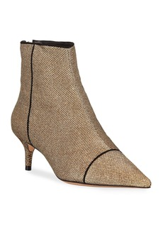 Alexandre Birman Kittie Glittered Mesh Ankle Booties