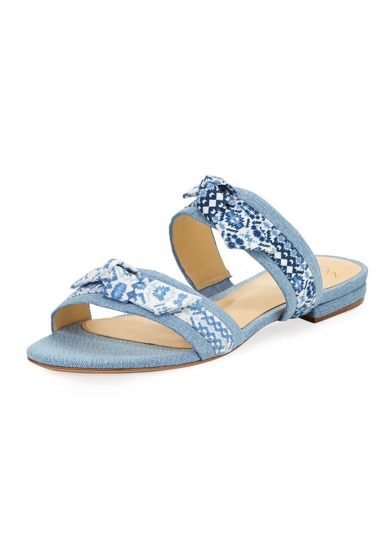 Alexandre Birman Linda Bow-Tie Denim Slide Sandal