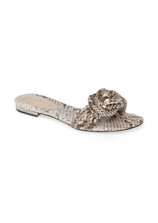 Alexandre Birman Vicky Knot Genuine Snakeskin Flat Sandal (Women)