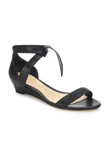 Alexandre Birman Atenah Woven Leather Demi-Wedge Sandals