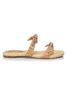 Alexandre Birman Clarita Bow Iridescent Leather Flat Sandals