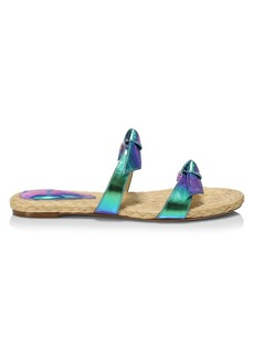 Alexandre Birman Clarita Iridescent Leather Flat Sandals