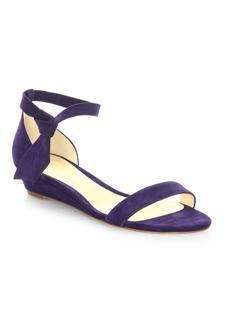 Alexandre Birman Clarita Suede Ankle-Tie Demi-Wedge Sandals