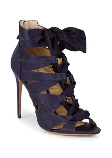 Alexandre Birman Lace-Up Satin Stiletto Sandals