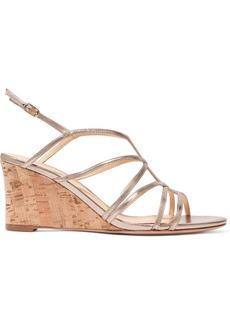Alexandre Birman Paolla Metallic Leather Wedge Sandals