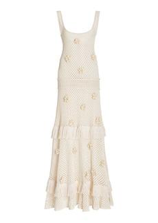 Alexis - Women's Lucaya Fringed Floral-Appliqued Crochet-Knit Maxi Dress - White - Moda Operandi