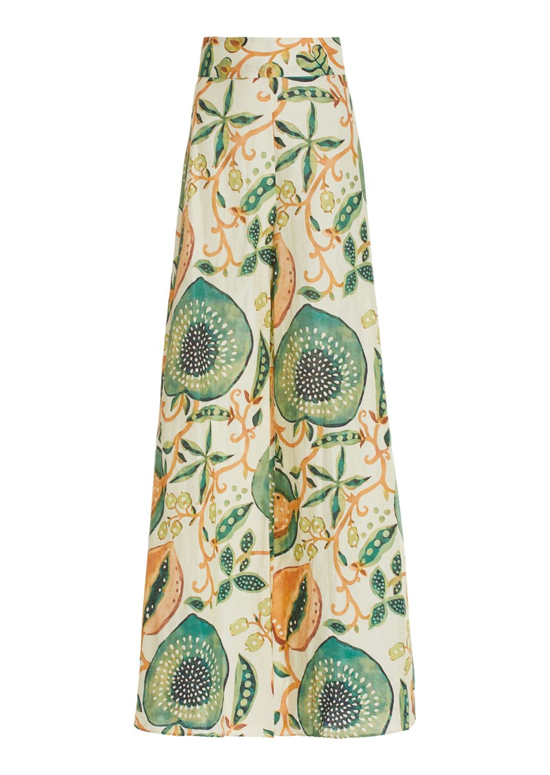 Alexis - Women's Ricarda Printed Linen-Blend Wide-Leg Pants - Green - Moda Operandi