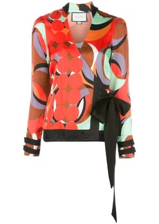 Alexis colour-block wrap blouse