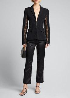 Alexis Amrita Hook-Front Jacket w/ Mesh Insets