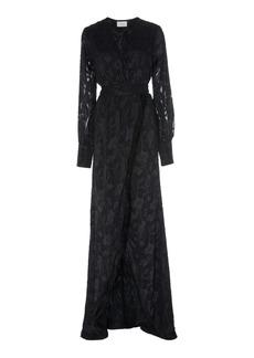 Alexis Antonella Fringed Devoré-Satin Wrap Maxi Dress
