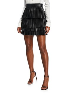 Alexis Briana Pleated Leather Mini Skirt