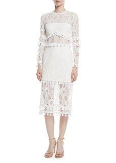 Alexis Callie Long-Sleeve Crochet-Lace Sheath Dress w/ Pompom Trim