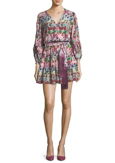 Alexis Damiana Button-Front Printed Mini Dress with Sash Belt