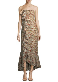 Alexis Faina Strapless Belted Leaf-Print Cocktail Dress with Ruffled Trim