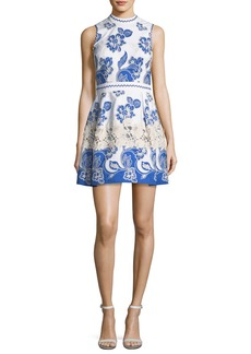 Alexis Farah High-Neck Sleeveless Embroidered Dress
