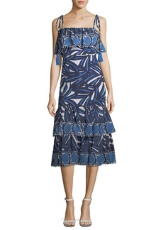 Alexis Faretta Square-Neck Mixed-Print Cotton Midi Dress