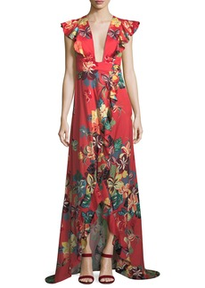Alexis Jana Floral-Print Cotton High-Low Maxi Wrap Dress