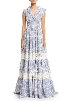 Alexis Karoline Sleeveless Striped Gown w/ Lace Embroidery