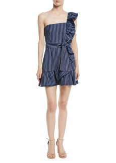 Alexis Konner One-Shoulder Striped Mini Dress