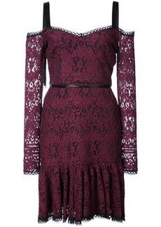 Alexis lace mini dress with tie straps - Pink & Purple