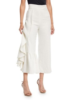 Alexis Lainey Wide-Leg Linen Pants with Ruffled Frill