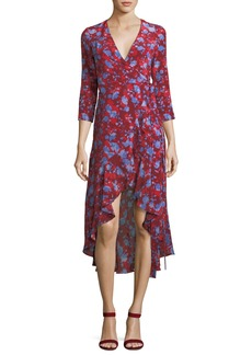 Alexis Loma High-Low Floral-Print Silk Wrap Dress