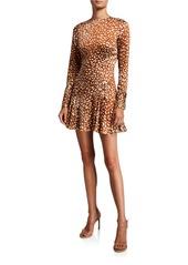 Alexis Madhu Long-Sleeve Leopard-Print Flounce Dress