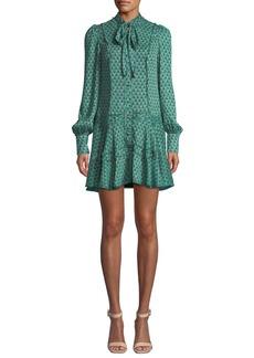 Alexis Monika Printed Tie-Neck Button-Front Shift Dress