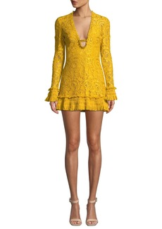 Alexis Nuray Plunging Lace Long-Sleeve Mini Dress