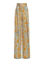 Alexis Olan Floral-Print Satin Wide-Leg Pants