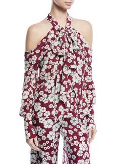 Alexis Paloma Tie-Neck Cold-Shoulder Silk Top