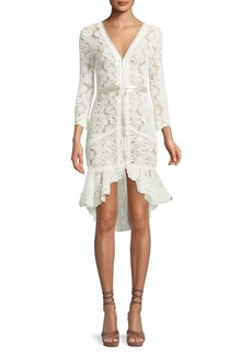 Alexis Parissa Lace Zip-Front High-Low Dress