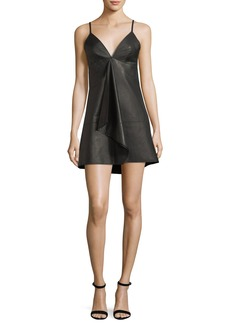Alexis Rei Deep-V Sleeveless Leather Mini Dress