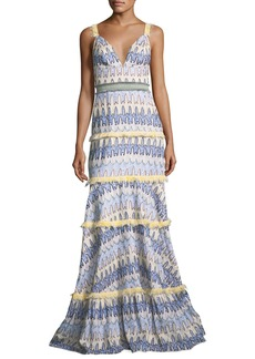 Alexis Robyn Deep-V Sleeveless Tiered Printed Gown with Embroidery Trim