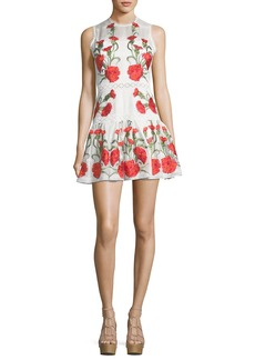Alexis Sabella Sleeveless Floral-Embroidered Fit-and-Flare Linen Dress
