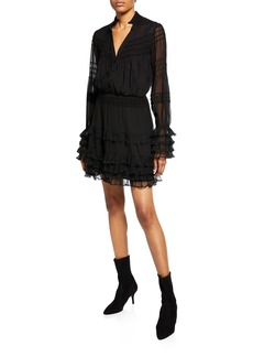Alexis Shannon Smocked Ruffle Silk Dress
