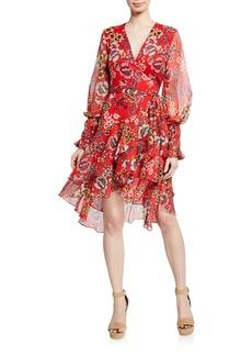 Alexis Sidony Floral-Print Flounce Wrap Dress