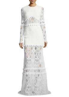 Alexis Thora Jewel-Neck Long-Sleeve Lace Maxi Dress