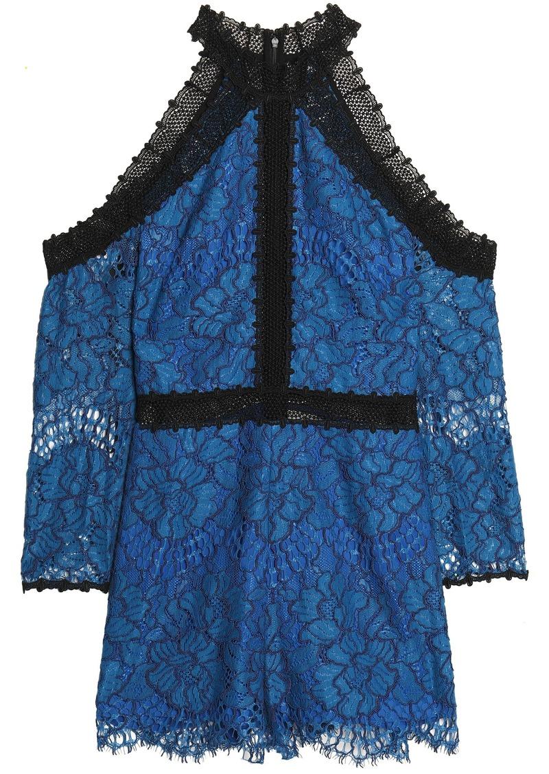 Alexis Woman Cold-shoulder Corded Lace Playsuit Royal Blue