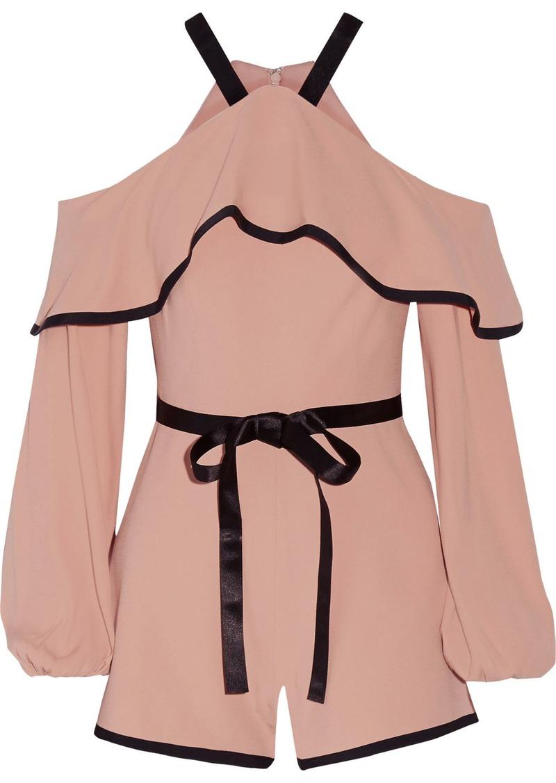 Alexis Woman Hanson Cold-shoulder Ruffled Crepe Playsuit Blush