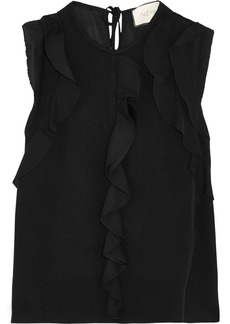 Alexis Woman Mathilde Ruffle-trimmed Crepe Top Black