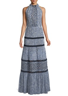 Alexis Bel Printed Crochet Maxi Dress