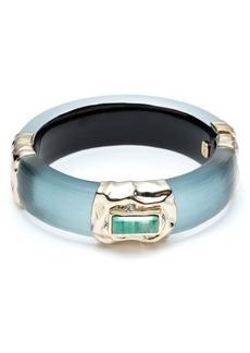 Alexis Bittar 10K Gold Crumpled Swarovski Crystal Hinged Bracelet