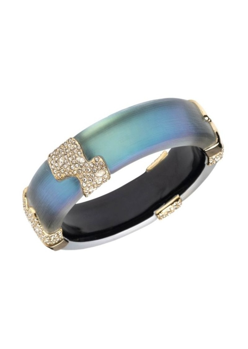 Alexis Bittar 10K Goldplated & Crystal Encrusted Sectioned Hinge Bangle Bracelet