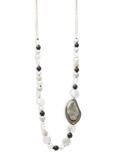 Alexis Bittar 10K Goldplated, 17MM Baroque Freshwater Pearl, Faux Shell Pearl & Wooden Bead Necklace