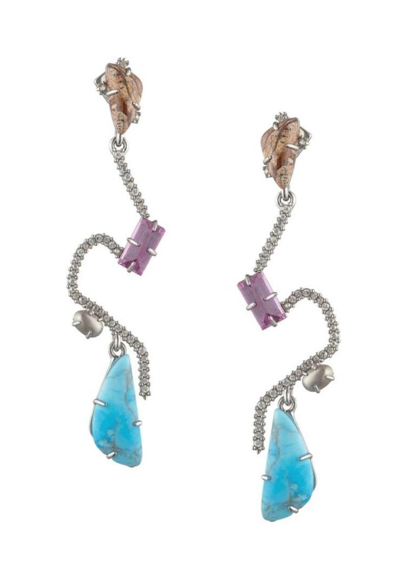 Alexis Bittar 10K Goldplated Crystal Maze Fancy Stone Post Earrings