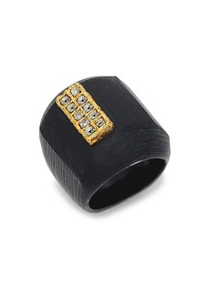 Alexis Bittar 10K Goldplated, Lucite & Crystal Ring