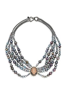 Alexis Bittar 10K Gunmetal-Plated, 10K Goldplated, Crystal & Faux Pearl Bib Necklace